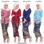 NJ ExclusiveCollections Ruffles Fishtail Kebaya with Printed Satin Pario Skirt