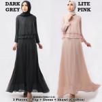 NJ Seoul Double Layer Top + Long Inner Dress + Shawl - 3 in 1