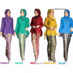 NJ Exclusive Collections Fishtail Peplum with Batek Printed Skirt