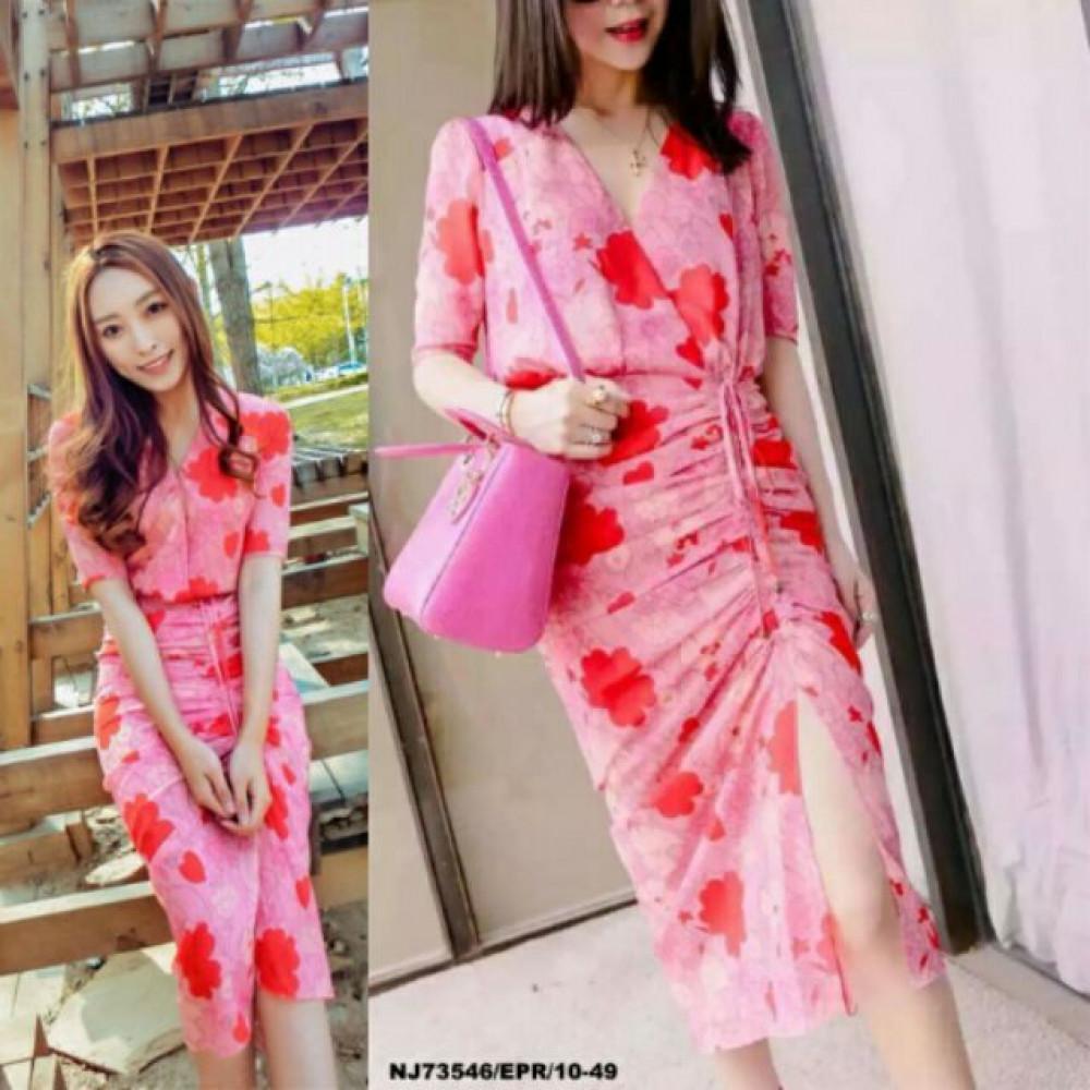 NJ Floral Print Dress Pink