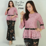 READY STOCK  NJ Exclusive Collections ZomZom Prada Lace Peplum with Printed Batik Skirt
