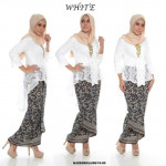 NJ Exclusive Collections Kebaya Fistail Lace with Printed Satin Pario Skirt (FREE BUCKLE RING)