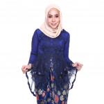 READYSTOCK   ROSSA Ruffles Fishtail Kebaya with Printed Satin Pario -NAVY