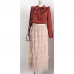 NJ Fashion Exclusive Net Plain Tiered Skirt