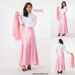 NJ Seoul Fashion Front Button Blouse With Flared Satin Long Skirt - 3 in 1
