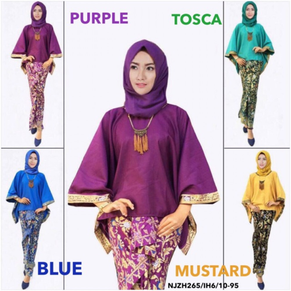 NJ Batwing Kurung with Batek + Pleated Skirt - Gold Print