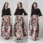 NJ Stylish Printed Pleated Maxi Skirt - Design 2