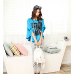 NJ Fashion Slogan Print Loose Long Sleeves Top