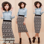 NJ Fashion Aztec Print Skirt