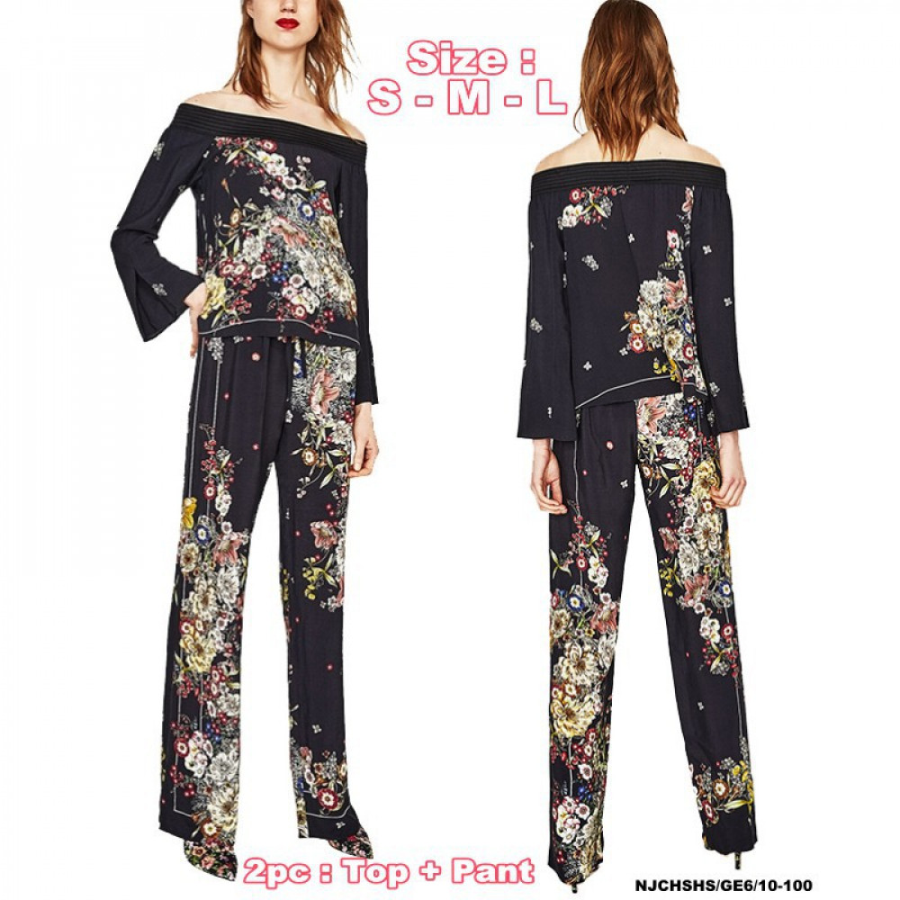 NJ DesignerCollections Off Shoulder Floral Suit