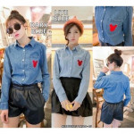 NJ DenimFashion Mickey Embroidered Button Top with Pocket