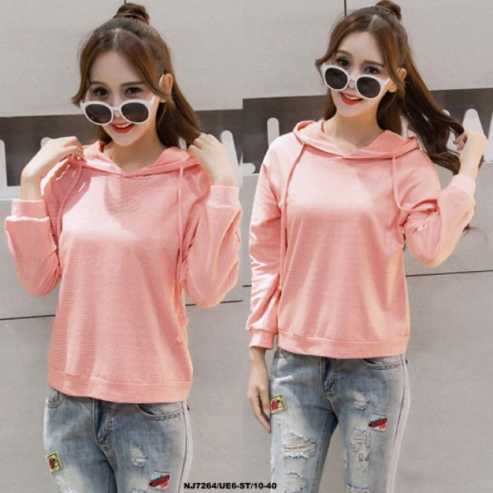 READY STOCK  NJ Korean Collections Trendy Hooded Top Pink