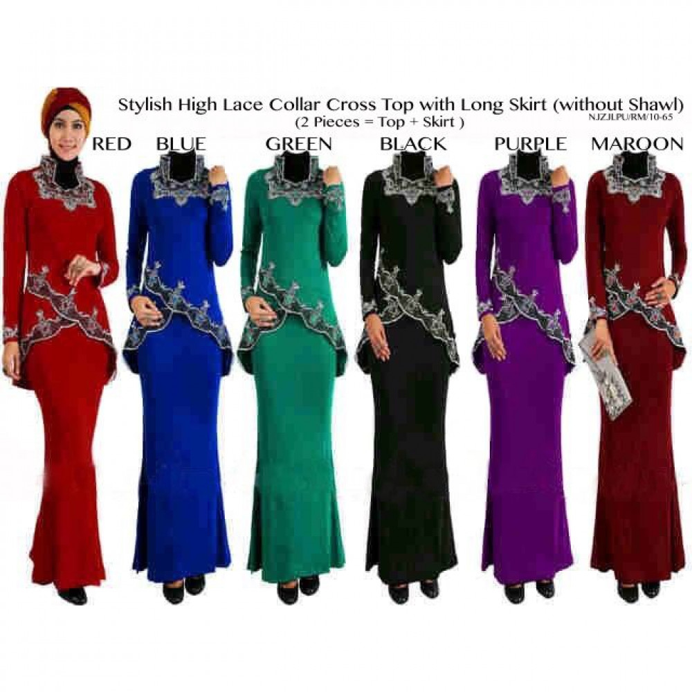 READY STOCK   NJ Stylish 2in1 High Lace Collar Cross Top with Long Skirt (without Shawl)