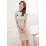 NJ Fashion Traditional Printed CheongSam - Almond