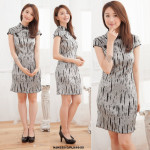 NJ Fashion Traditional Printed CheongSam - Grey