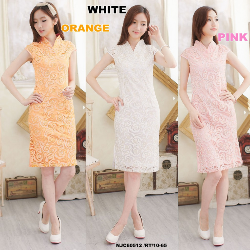 NJ ExclusiveCollections Roses Lace CheongSam