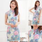 NJ Fashion Flora Printed Cheongsam - Blue