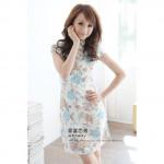 NJ Fashion Vintage Flora Printed Cheongsam - Blue