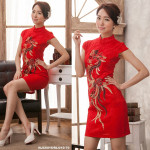 NJ InspiredCollection Lace Embroidery Sequin CheongSam - Red Peacock