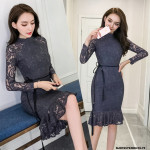 NJ ExclusiveCollection Greyish Lace Party Dress
