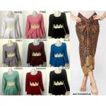 NJ Fashion Melissa Lace Peplum Top with Satin Pario Printed Skirt [Free Ring]