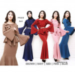 NJ ExclusiveCollections Elegant Peplum Dress [Free Pearl Stylized Belt]