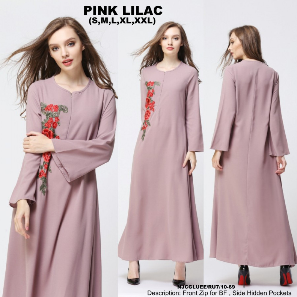 NJ ModernCollections Flora Patch Jubah - Pink Lilac
