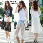 NJ EuropeFashion Lace Design Long Button Shirt