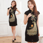NJ InspiredCollection Peacock Embroidery Sequins CheongSam - Black