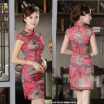 NJ InspiredCollection Silk Printed CheongSam - Red
