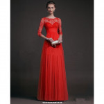 NJ EuropeFashion Lace Design Maxi Dress - Red