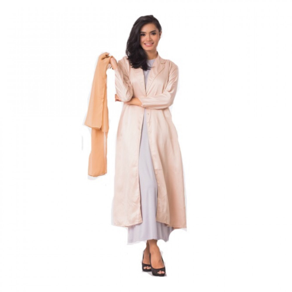 NJ Long Lapel Coat With Sleeveless Inner Dress (2 Pcs) [Free Shawl] H149