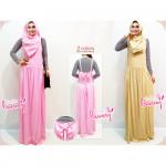 NJ Ribbon Design Strap Dress + Stripes Inner + Shawl (3 Pcs)