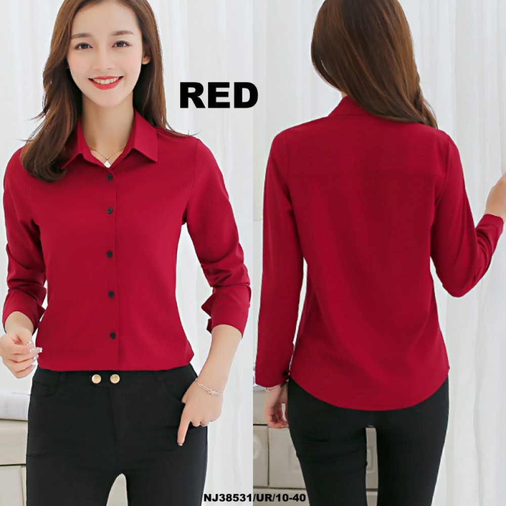 NJ Fashion Stylish Collared Button Top