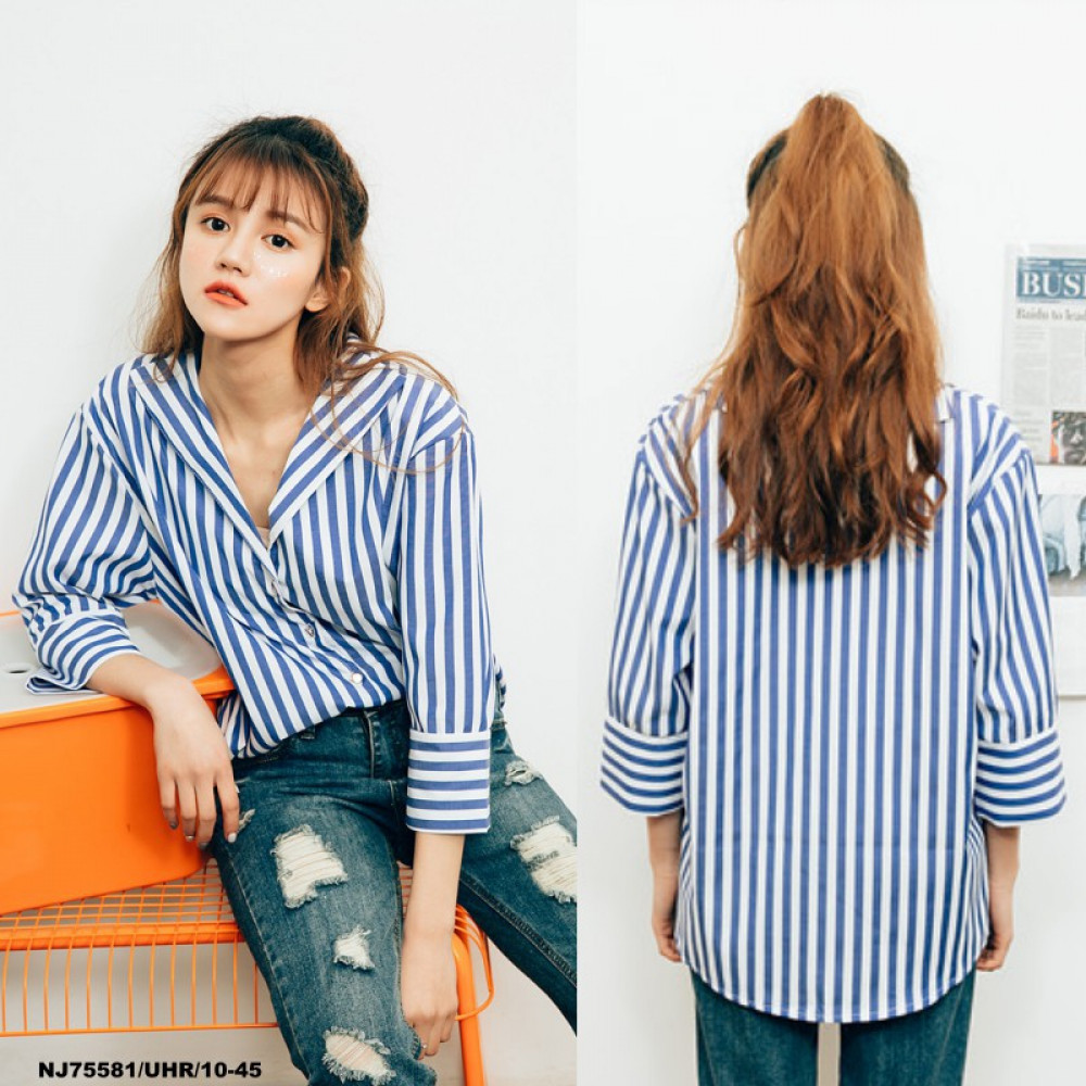 NJ Fashion Elegant Stripe Unique Collar Top