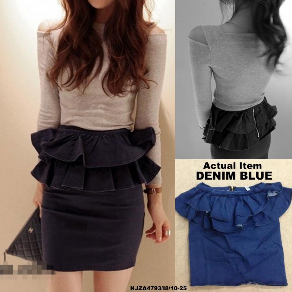 NJ DenimFashion Ruffle Pencil Skirt