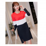 NJ SeoulFashion Triotone Stylish Dress