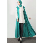 NJ Sleeveless Long Cardigan + Collared Top + Long Pants with Shawl (3 Pcs)