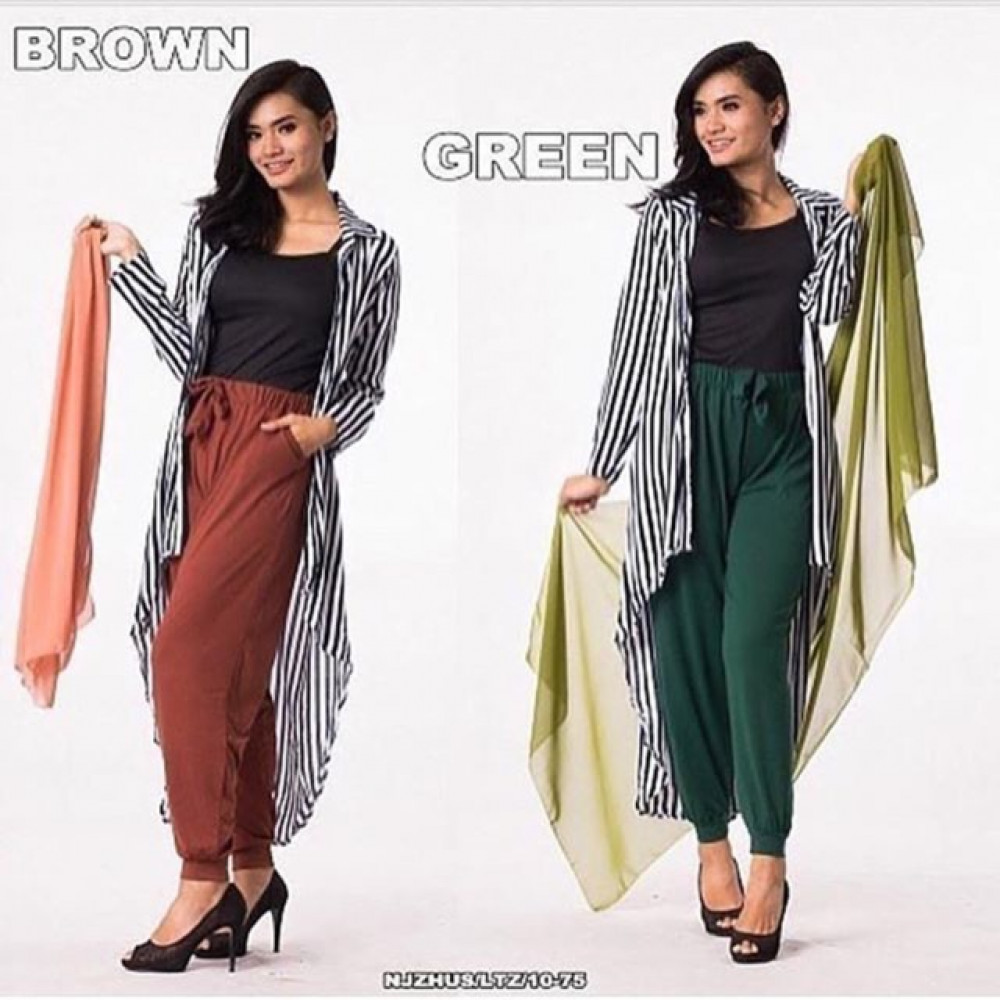NJ Seoul Shawl + Long Cardigan + Tank Top + Pants - 4 in 1