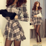 NJ SeoulFashion Feminine Checkers Dress