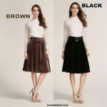 NJ EuropeFashion Elegant Velvet Skirt with Belt