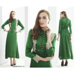 NJ ExclusiveFashion Half Button Satin Lace Design Jubah - 2 in 1