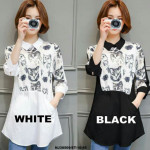 NJ Fashion Cute Cats Printed Collared Top