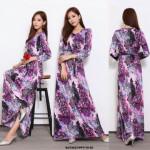 NJ EuropeFashion Elegant Maxi Dress Purple with Waist String