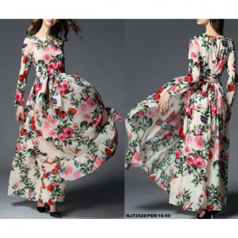 NJ EuropeFashion Flower Printed Beautiful Dress with Waist String