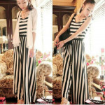 NJ EuropeFashion InspiredCollections Stripe Jumpsuit with BELT