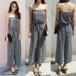 NJ Fashion Trendy Stripe Tube Design Jumpsuit with Waist String