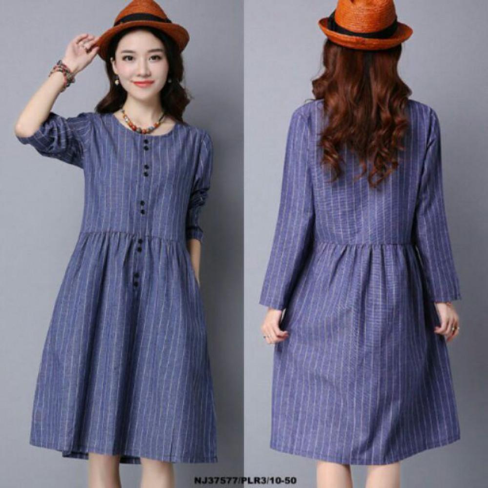 NJ Fashion Stripe Dress Blue