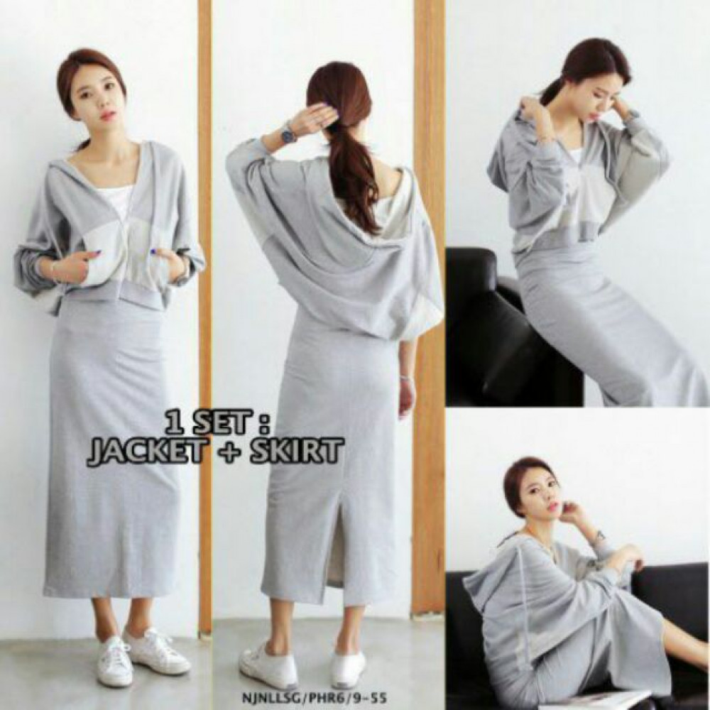 NJ Fashion Stylish Top and Skirt Grey (1 Set)