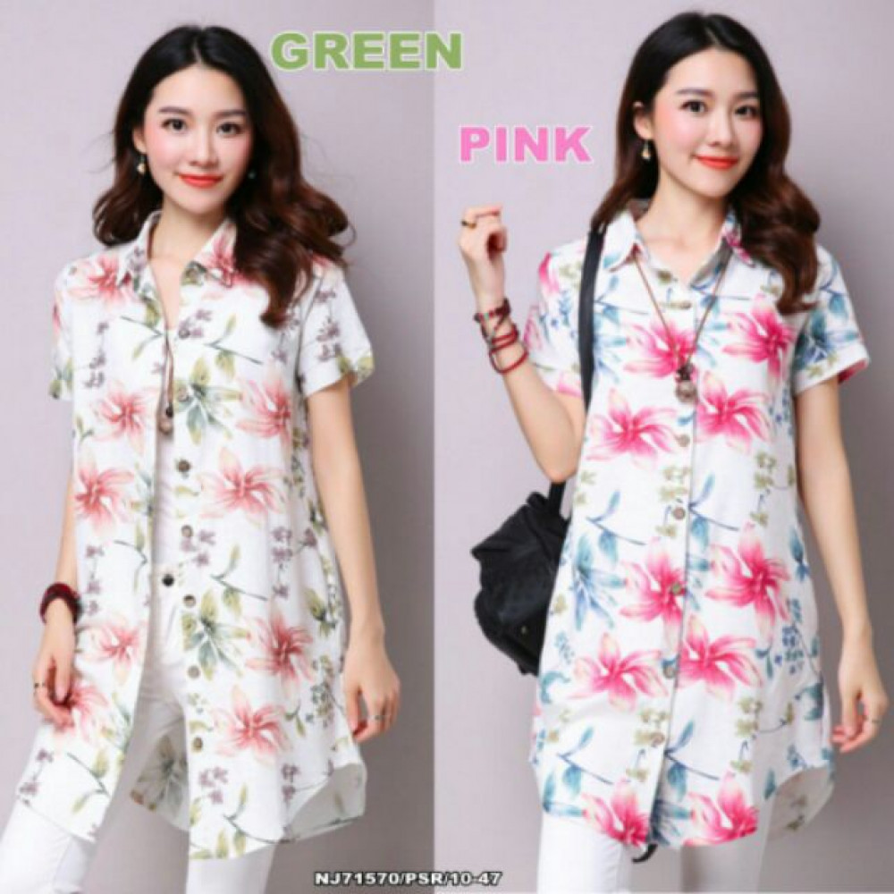 NJ Fashion Lovely Floral Long OL Top